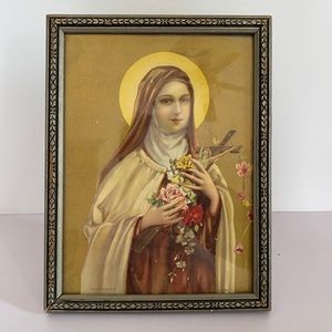 Antique Gilded St. Theresa Lithograph Carved Frame